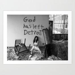 God Has Left Detroit Art Print