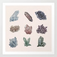 crystals Art Prints featuring Crystals by Samantha Crepeau