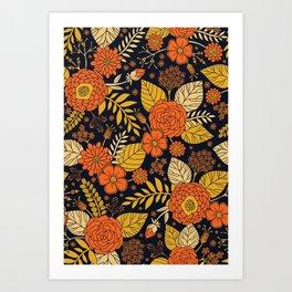 Retro Orange, Yellow, Brown, & Navy Floral Pattern Art Print