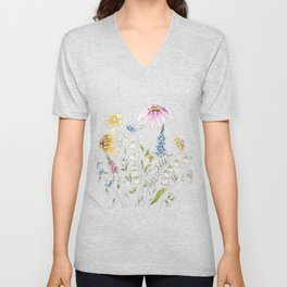 wild flowers and blue bird _ink and watercolor 1 Unisex V-Neck