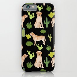 Labrador Retriever yellow lab cute cactus southwest pet portrait dog breed desert iPhone Case