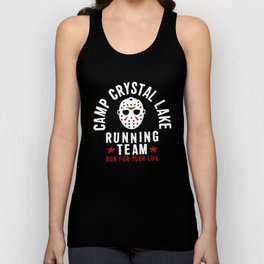 Friday The 13Th Camp Crystal Lake Running Team Voorhees Charcoal Gray Camp T-Shirt Unisex Tank Top