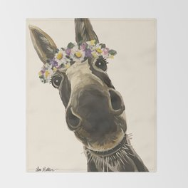 Cute Flower Crown Donkey, Up Close Donkey Art Throw Blanket