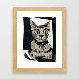 Newspaper Cat Framed Art Print
