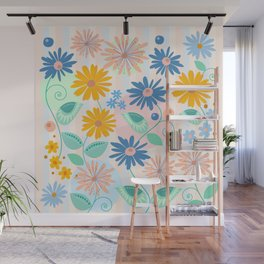 Decorative flowers and leaves Wall Mural