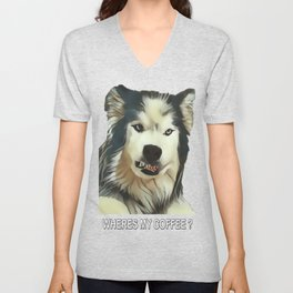 Angry Wolf - Wheres My Coffee ? Unisex V-Neck