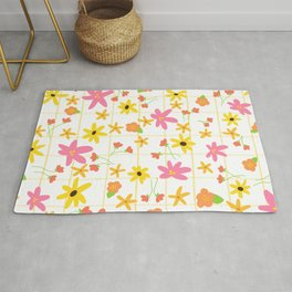 1970s floral pattern with grid Rug