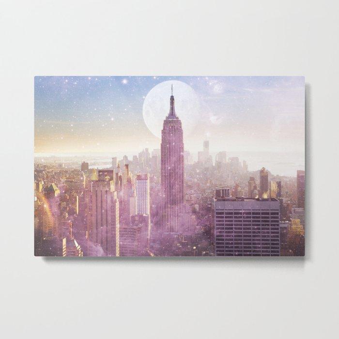 I LOVE PINK NEW YORK CITY SKYLINE - Full Moon Universe Metal Print