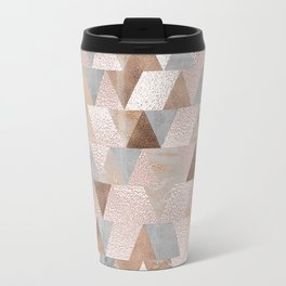 Copper and Blush Rose Gold Marble Triangles Travel Mug