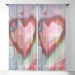Heart Dreams 4H by Kathy Morton Stanion Sheer Curtain