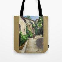 arab Tote Bags featuring Arab Baths in Palma DP150724a by CSteenArt