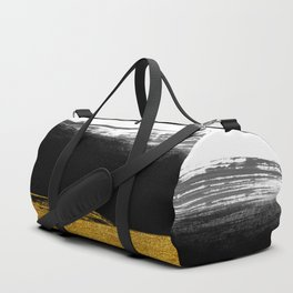 Black and Gold grunge stripes on clear white background - Stripe - Striped Duffle Bag