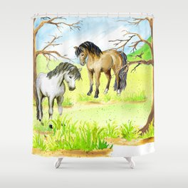 two ponies in early spring Shower Curtain