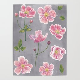 Japanese Anemone Flower Painting Poster