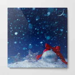 Silver blue ornaments Metal Print