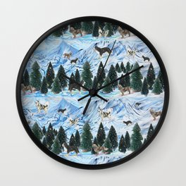 Dogs Skiing - Mountain Resort Scene with Bernese Mountain Dogs, Golden Retrievers, and Malamutes Wall Clock