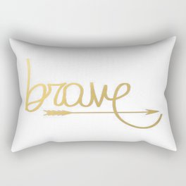 Gold Arrow Brushstroke Watercolor Inspiration Quote Classic Ink Brave Typography Calligraphy Rectangular Pillow