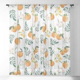 Zesty Oranges Pattern in White Sheer Curtain