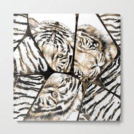 Tiger portrait composition on voronoi pattern Metal Print