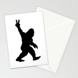 Bigfoot Sasquatch Peace Sign Silhouette Cartoon Stationery Cards