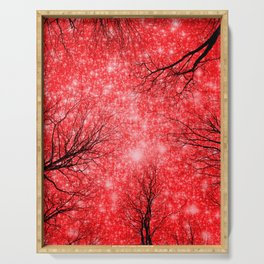 Black Trees Red Space Serving Tray