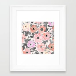 Elegant simple watercolor floral Framed Art Print