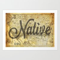 vintage map Art Prints featuring Vintage map by Cultivate Bohemia