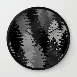 Pine Trees Black and White Wall Clock