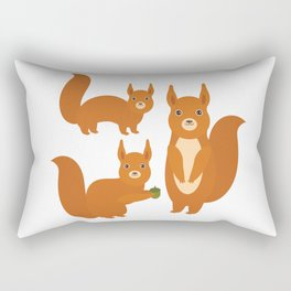 Set of funny red squirrels with fluffy tail with acorn  on white background Rectangular Pillow