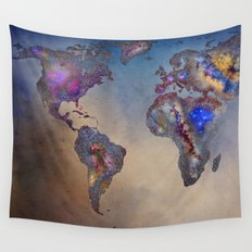Stars world map. Blue Wall Tapestry