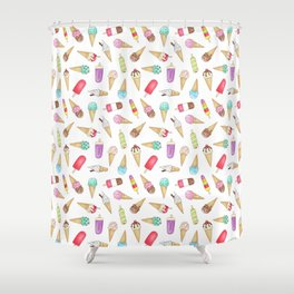 Scattered Ice Creams and Ice Lollies Shower Curtain