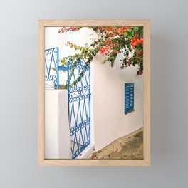 White house with bouganville and blue window - Mediterranean islands - Stromboli, Aeolian islands, Sicily, Italy - Travel Fina Art Photography Framed Mini Art Print