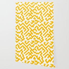 White and Amber Orange Diagonal Labyrinth Wallpaper