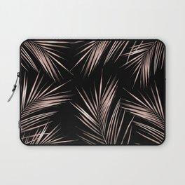 Rosegold Palm Tree Leaves on Midnight Black Laptop Sleeve