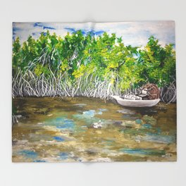 Florida Mangrove Tea Water in the Everglades Throw Blanket