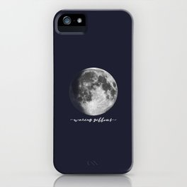 Waxing Gibbous Moon on Navy English iPhone Case