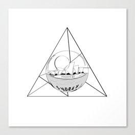 Graphic . geometric shape gray Sydney in a bottle . City Canvas Print