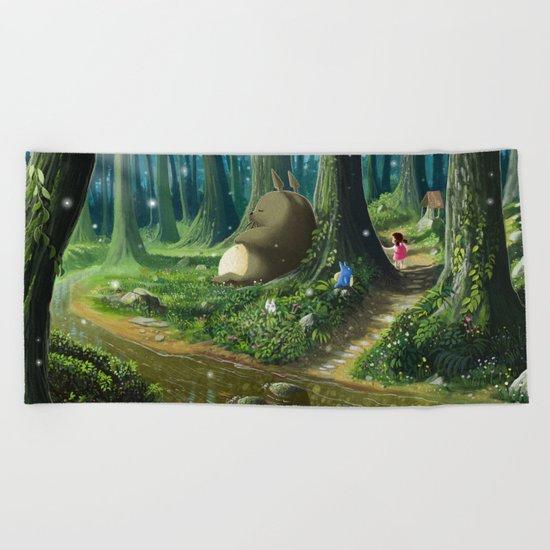 Totoro and Mei Beach Towel