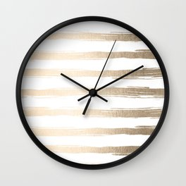Simply Brushed Stripes White Gold Sands on White Wall Clock