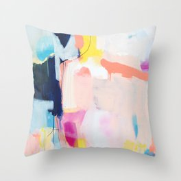 """""""passions 2"""" abstract art in navy, blush, teal, white, and yellow Throw Pillow"""