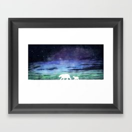 Aurora borealis and polar bears (white version) Framed Art Print