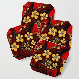Yellow Fantasy Flowers On Red And Black Coaster
