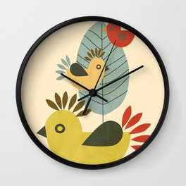 Three Birds and a Leaf Wall Clock