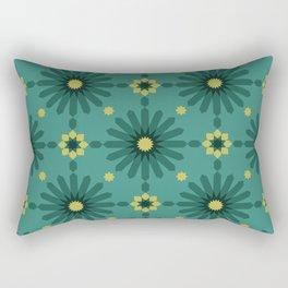 Geometric Starbursts - Teal Rectangular Pillow