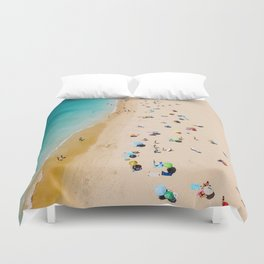 People On Algarve Beach In Portugal, Drone Photography, Aerial Photo, Ocean Wall Art Print Duvet Cover