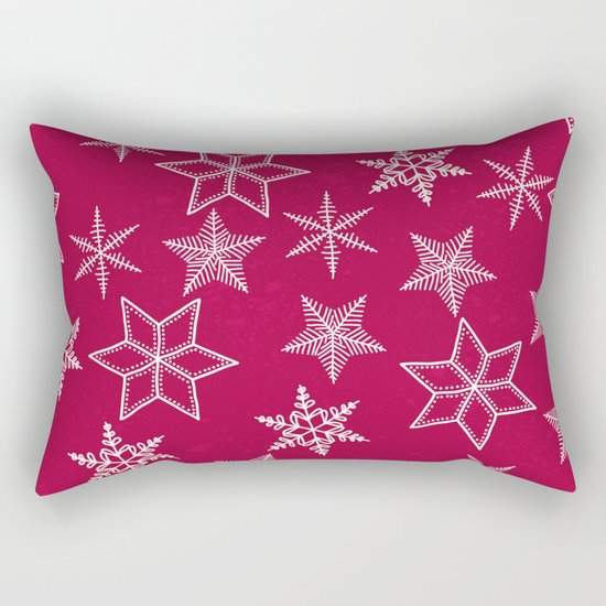 Snowflakes on red background Rectangular Pillow