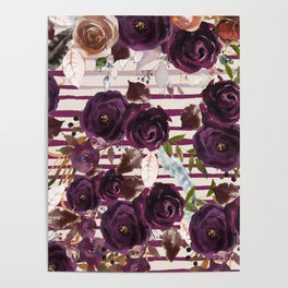 Watercolor ivory purple burgundy brown floral stripes Poster