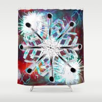 snowflake Shower Curtains featuring Snowflake by Sarah Maurer
