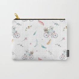 Modern pastel pink blue gray watercolor bicycle rabbit floral Carry-All Pouch