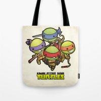 ninja turtles Tote Bags featuring Kawaii Mutant Ninja Turtles by Squid&Pig